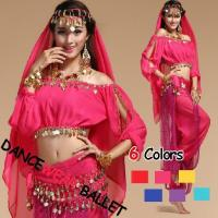 Six Colors Long Sleeve Crop Top Belly Dancewear Seven Pieces Pants Suit