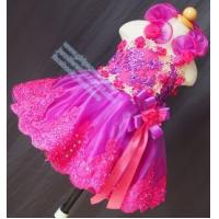 China Halter Strap Fuchsia and Champagne Pageant Baby Dress G099-5 wholesale