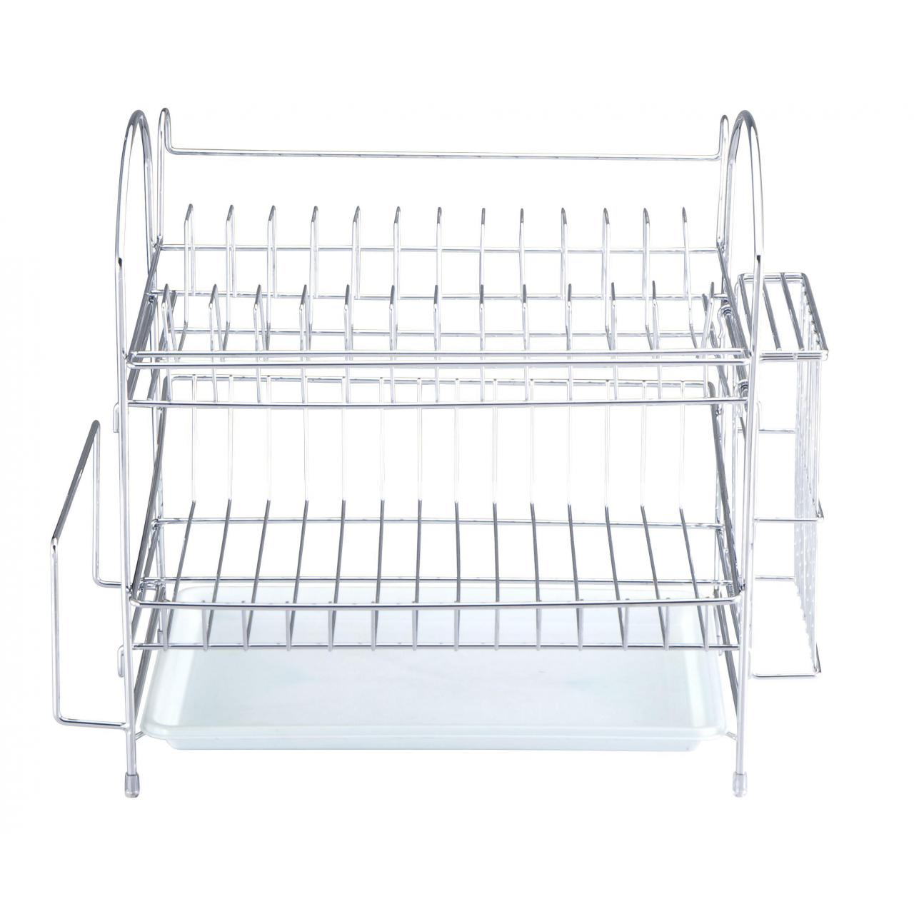 Dish racks Two-tier Metal Dish Rack with Plastic Tray and Holder