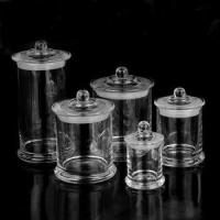 Clear storage canister glass jars with lid hold candle and candy
