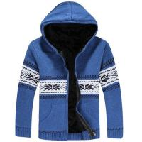 China Fashion blue knitted wool warm winter hooded jackets mens on sale