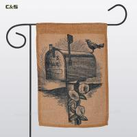 China Flag & Banner Sketch linen Garden Flag with stand wholesale