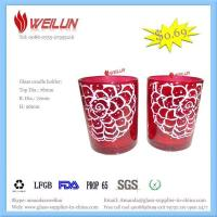 China Glass printing glass candle holder wholesale