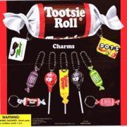 China Tootsie Roll Charm Key Chains 2 Toy Capsules 250pcs on sale