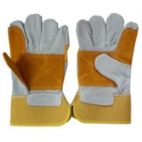 China Premium Double Palm Cow Leather Safety Gloves for Industry on sale