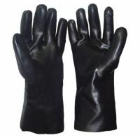 China Oil Resistant Cotton Interlock Liner Long PVC Coated Hand Gloves on sale