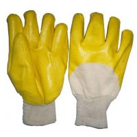 China Cotton Interlock Lining Palm Yellow Nitrile Coated Knit Gloves on sale