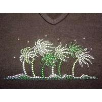 China Christine Alexander v-neck tank Fitted black shirt waving palms size Large wholesale