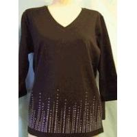 China Christine Alexander black v-neck aurora Swarovski crystal & silver lines size xlarge only wholesale