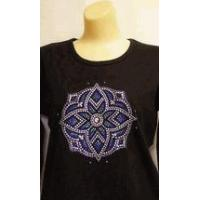 China Christine Alexander Sweatshirt Stained Glass Medallion Size 3x on black wholesale