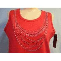 China Christine Alexander red tank top shirt silver & red crystal necklace S to L wholesale