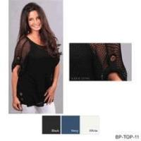 China Simply Noelle shirt open weave button detail Size S to XXL black, white or navy wholesale