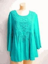 Quality Simply Noelle shirt Turquoise 3/4 Bell Sleeve Top crochet trim Small medium for sale