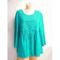 China Simply Noelle shirt Turquoise 3/4 Bell Sleeve Top crochet trim Small medium wholesale
