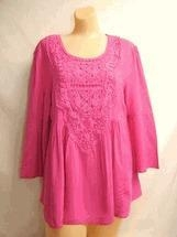 Quality Simply Noelle shirt Orchid pink top 3/4 Bell Sleeve Top w/Crochet size small medium for sale