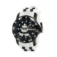 China Men's Disney Black Dial Black IP Steel & White Silicone Strap Dive Watch on sale