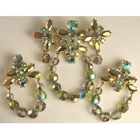 China Vintage SCHIAPARELLI Crystal and Rhinestone Brooch and Earring Set on sale