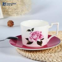 China Cup and Saucer Unique design rose decal fine bone china cups with saucer wholesale