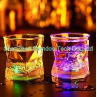 China Liquid activated LED whisky glass for bar night club on sale