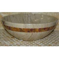 China Sahara Beige Marble Kitchen Bathroom Sinks With Multi Red Onyx Mosaic Inlay wholesale