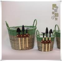 Natural woven basket Willow basket with tools