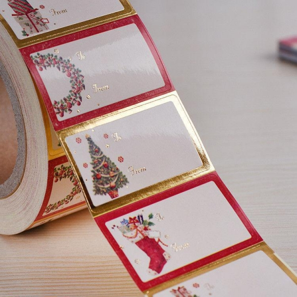 Quality Shinny Gold Foil Line Custom Label Stickers Hot Melt Adhesive Sticker for sale