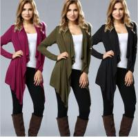 China Irregular Hem Drape Front Open Cardigan Long Sleeve wholesale