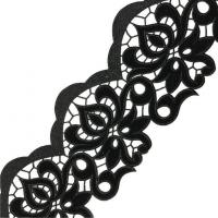 China Black Velvet Venise Guipure Embroidered Lace Trim by the Yard on sale