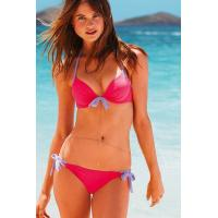 China Hot Pink and Violet Push-up Halter Bikini With Bust Tie and Ruched Underwire Cups, Side-tie Bottom wholesale