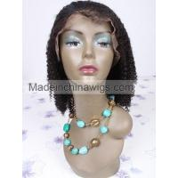 China Hot Sale Black Curl Human Hair Full Lace Wigs For Women on sale
