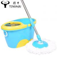 China Magic Spin Non Pedal Mop and Bucket Set with 360  Rotation Easy Wring Reusable Mop Heads wholesale