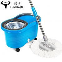 China Microfiber Spin Mop Cleaning System with Wheels Bucket Easy Life 360 Rotating Flat Wool Mop Head wholesale