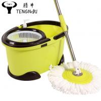 China Dolphin Shaped Easy Cleaning Steel Ploe Spin Mop Wheel Bucket with 2 Microfibre Mop Heads Floor Mop wholesale
