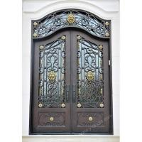Wrought iron door Eyebrow arch Hand forged wrought iron double entry door SY-DR-M6025-ETEP