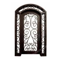 Wrought iron door Single Wrought Iron Door with sidelight transom SY-SR-M6015-ETEP