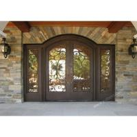 Rounded top Hand forged wrought iron double entry door with sidelight SY-DR-M6033-RTEP