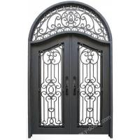 Wrought iron door Eyebrow arch Hand forged wrought iron Transom double door SY-DR-M6013-RTEP