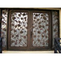 Wrought iron door Sqaure sidelight Hand forged wrought iron double entry door SY-DR-M6023-STSP