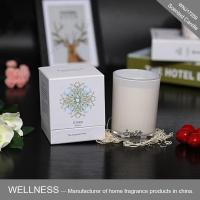 Natural scented candle in glass jar with white gift box-WNJ17259