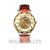 China Fashion Stainless Steel Skeleton Mechanical Watch For Man Gold Mechanical Wrist Watch on sale