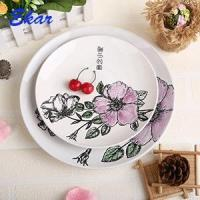 Silk screen printing flower and animal round ceramic plate
