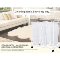 China Kitchenware PVC Plastic Dirty Laundry Basket With Wheel And 3 Mesh Bags wholesale