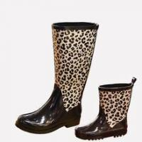 China New design Leopard printing mother and daughter shoes waterproof rubber rain boot on sale