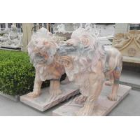 Decorative Hand Carved Yellow Marble Lion Sculptures