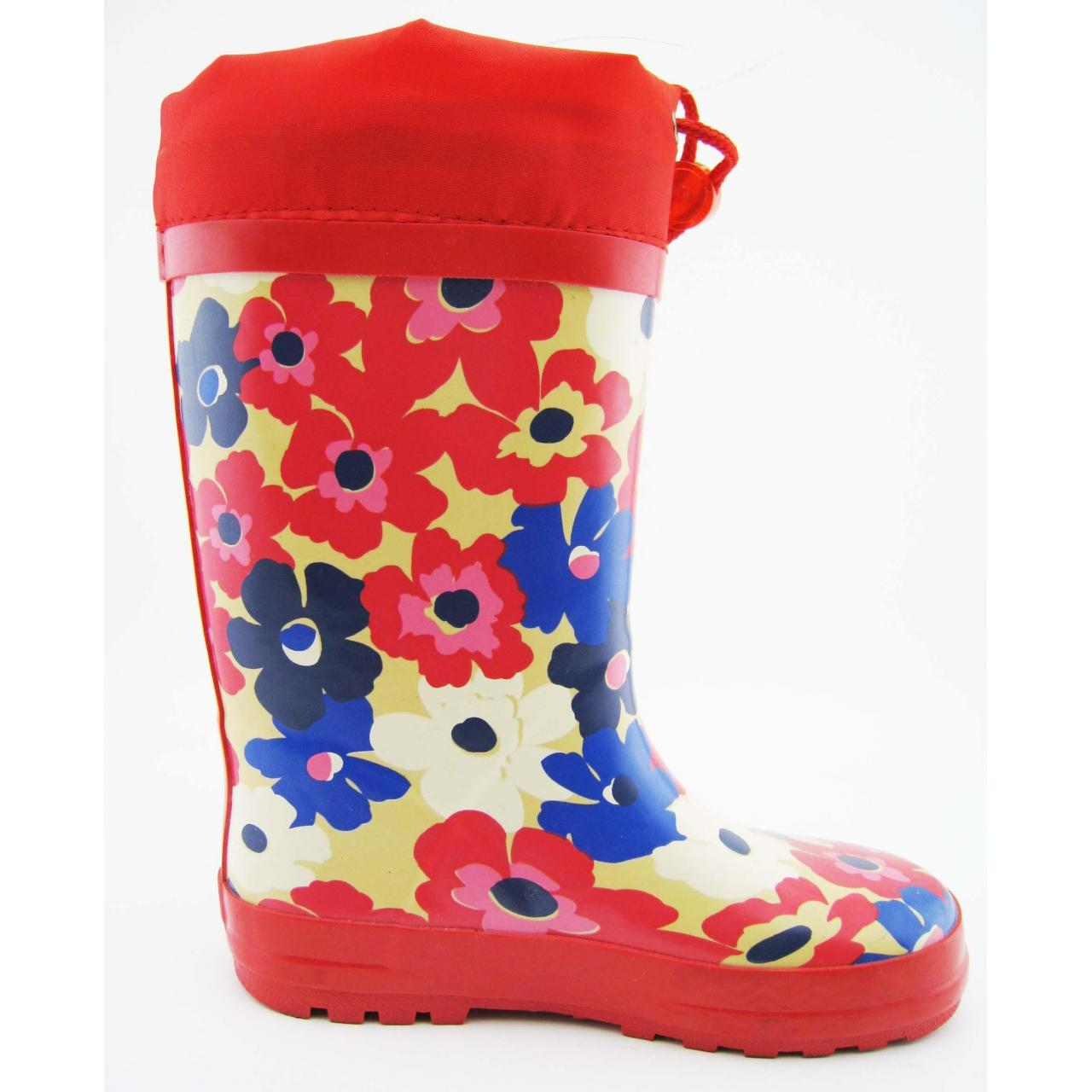 China Flower Design Kids Rubber Rain Boot with Nylon Top on sale