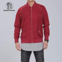 China Red Slim Fit Eco-friendly Suede Jacket for Men wholesale
