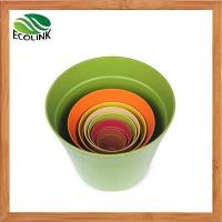 China Eco-Friendly Bamboo Fiber Plant Flower Pots Bamboo Planter wholesale