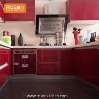 China High Gloss Red Australia Modern Design Fitted Two Pack Finish Spray Painting Kitchen Cabinets wholesale