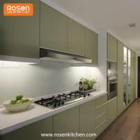 China Modern Green Color Best Spray Hand Painted Flat Pack Kitchen Cupboards Wood Cabinets on sale
