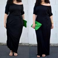 China Half-Sleelve Solid Black Loose Maxi Dresses Plus Size Clothing For Women on sale